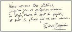 Почерк Фредерика Бегбедера